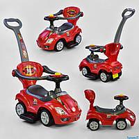 Машина-толокар 3766 - R (1) цвет КРАСНЫЙ, родительская ручка, 5 мелодий, подсветка фар, съемный защитный бампер, багажник