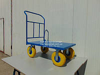 Тележка ручная 1000х600мм 300кг, колесо 260мм пенополиуретан складская грузовая платформенная