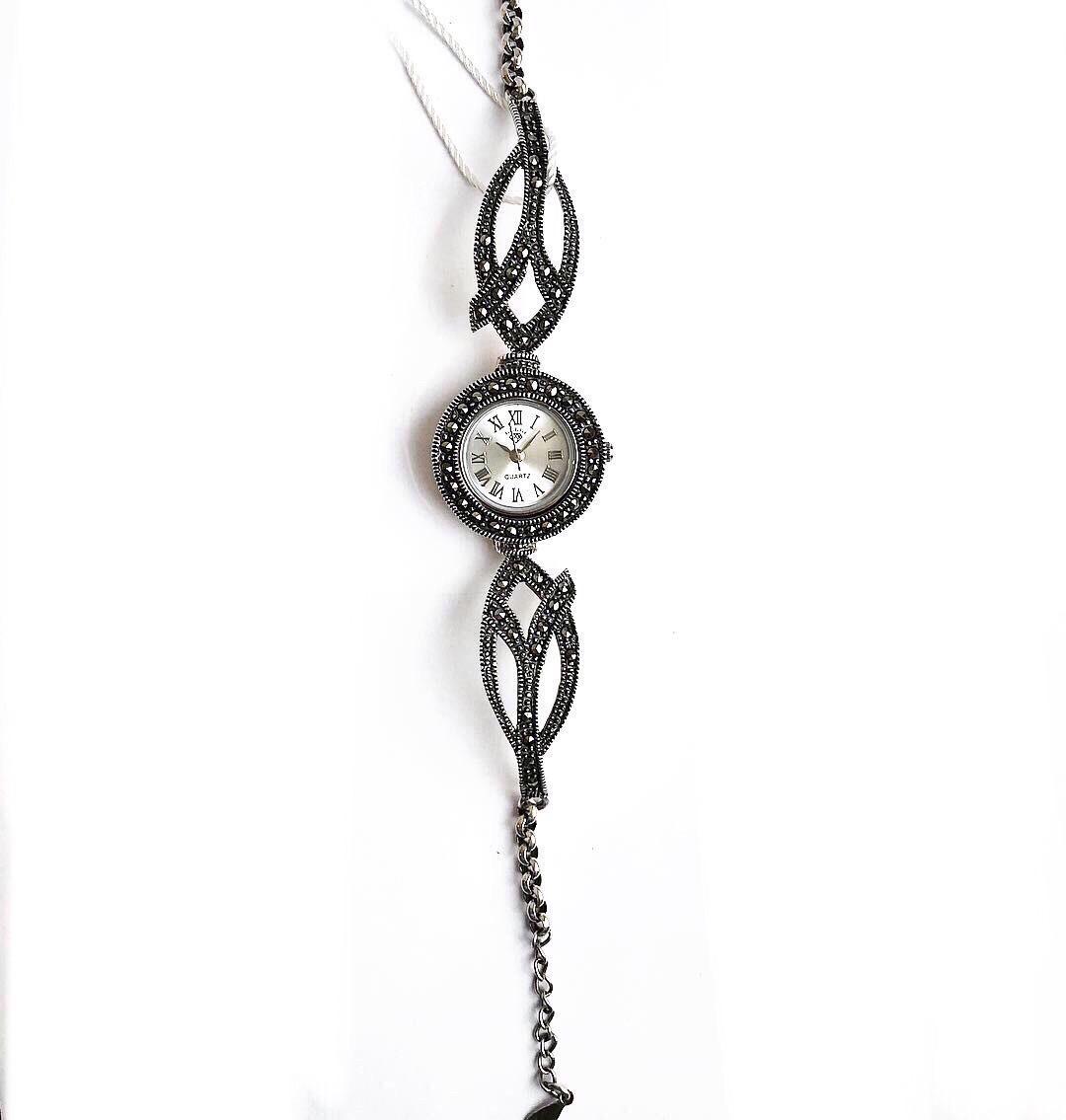 Часы из капельного серебра 925 Beauty Bar классические 7 с маркизами