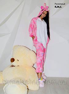 Кигуруми пижама флисовая Единорог розовые звезды S на рост 150+-5 см