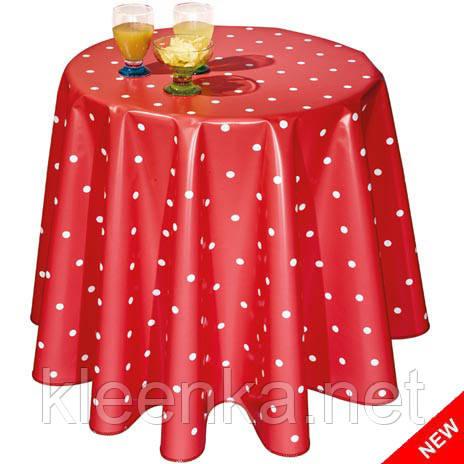Стильная красная скатерть в белый горошек, фото 2