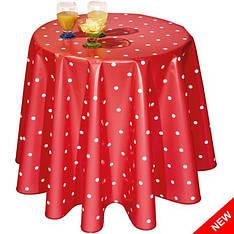Стильная красная скатерть в белый горошек