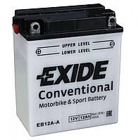 Аккумулятор мотоциклетный 12Ah-12v Exide (EB12A-A) (134х80х160) L, EN165