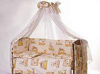 Хлопковый комплект постельного белья для детской кроватки Мишки в домике  8 ед