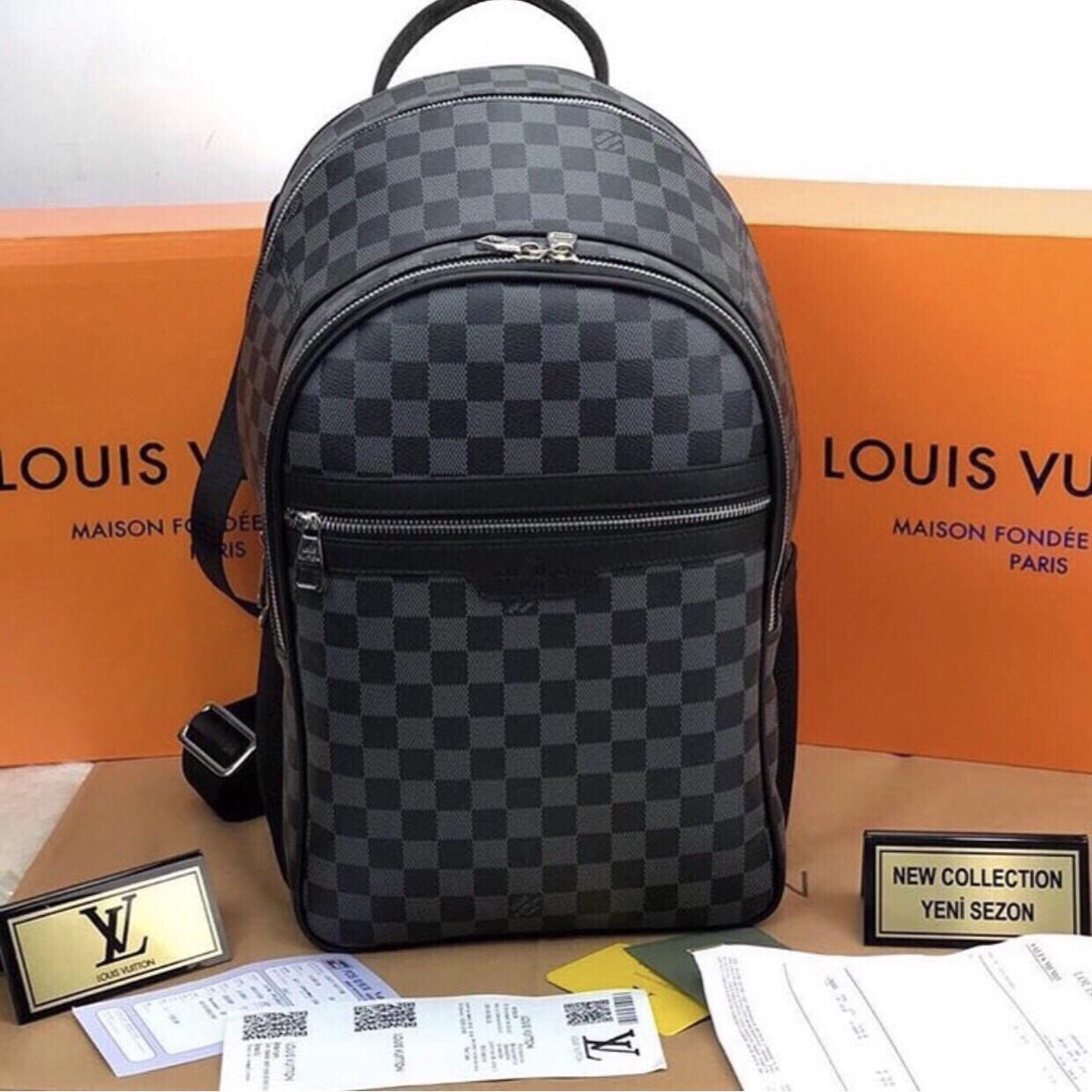 Портфель мужской рюкзак ранец ручная кладь Louis Vuitton (реплика Луи Витон) LV Black