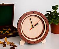 Круглые часы Часы деревянные Часы яблочно кленовые Часы с золотыми стрелками Циферблата нет Часы яблоня 15 см
