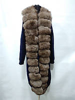Пальто из вязаного трикотажа с мехом финского песца цвет-синий длина 100см 46р 48р 50р 52р