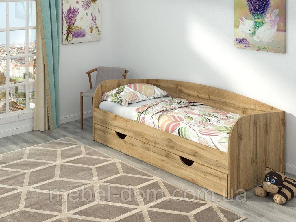 Односпальне ліжко Соня-3 зі спинкою і з висувними ящиками