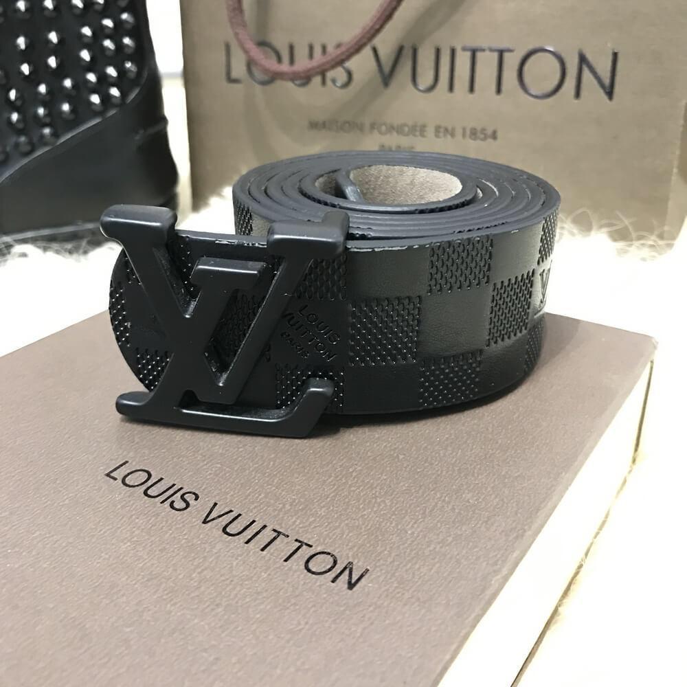 Ремень кожаный мужской пояс черный  Louis Vuitton Silver (копия Луи Витон)