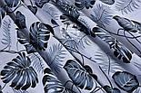 """Лоскут ткани """"Листья монстеры и пальмы"""" среднего размера серые на белом фоне, №1308, размер 40*80 см, фото 3"""