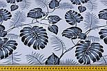 """Лоскут ткани """"Листья монстеры и пальмы"""" среднего размера серые на белом фоне, №1308, размер 40*80 см, фото 5"""