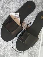 Женские шлепки сланцы мюли H&M черный лак, оригинал, в наличии 37 38 39 40, фото 1