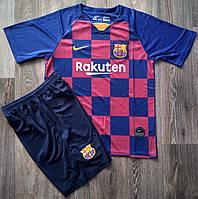 Детская футбольная форма Барселона сезон 2019-2020 основная гранатовая фанатская версия
