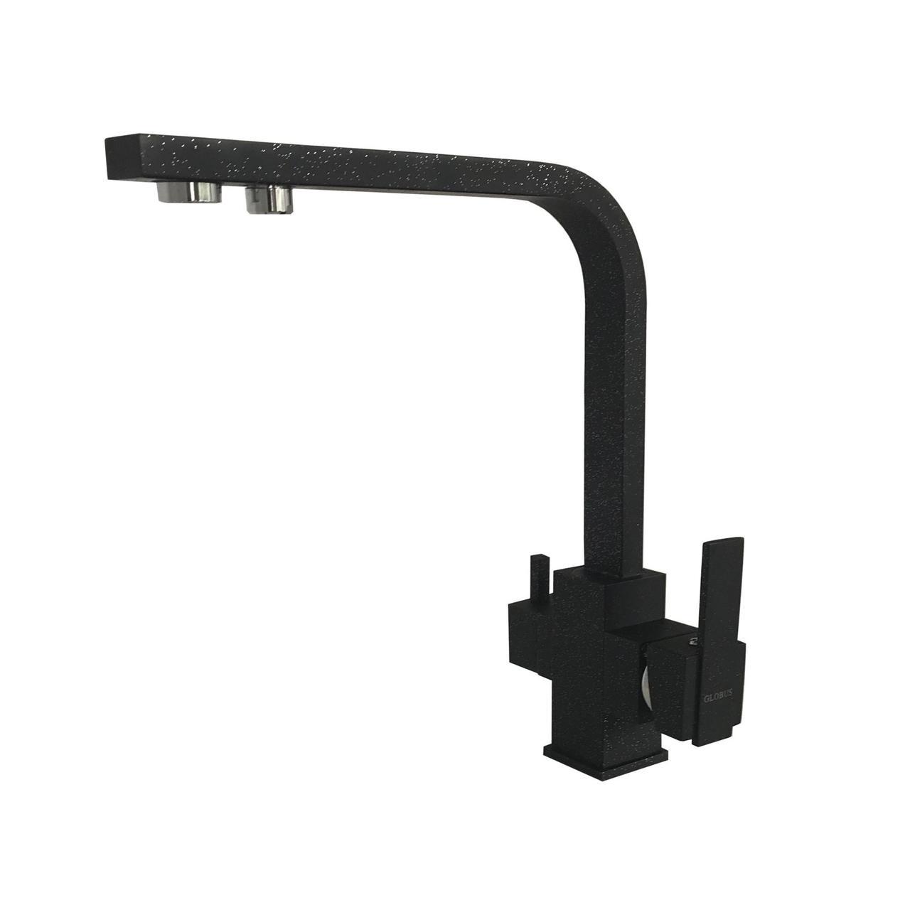 Смеситель кухонный Globus Lux LAZER GLLR-0111 ONIX Черный комбинированный под ОСМОС на гайке, фото 1