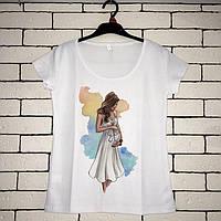 Женская футболка  с принтом - Беременная девушка, футболка с рисунком, футболка для беременных
