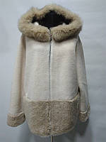 Шубка из овечьей шерсти с капюшоном (отделка песец) на молнии цвет-бежевый длина 67см  48р 50р 52р 54р