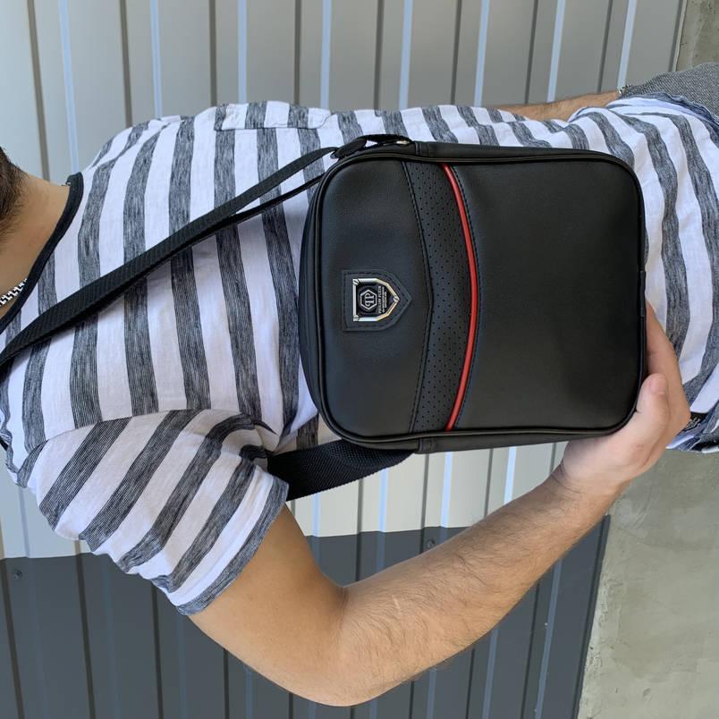 Мужская барсетка черная Phillip Plein (Филипп Пляйн) сумка через плече, фото 2