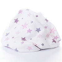 Пелёнка фланелевая с розовыми и серыми звездами.