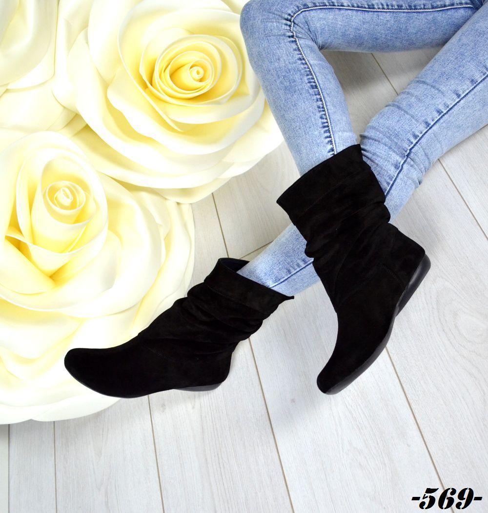 Демисезонные женские сапоги черного цвета, натуральная замша