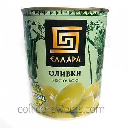"""Оливки c косточкой """"Эллада"""" (colossal калибр 121-140) 850гр, фото 2"""