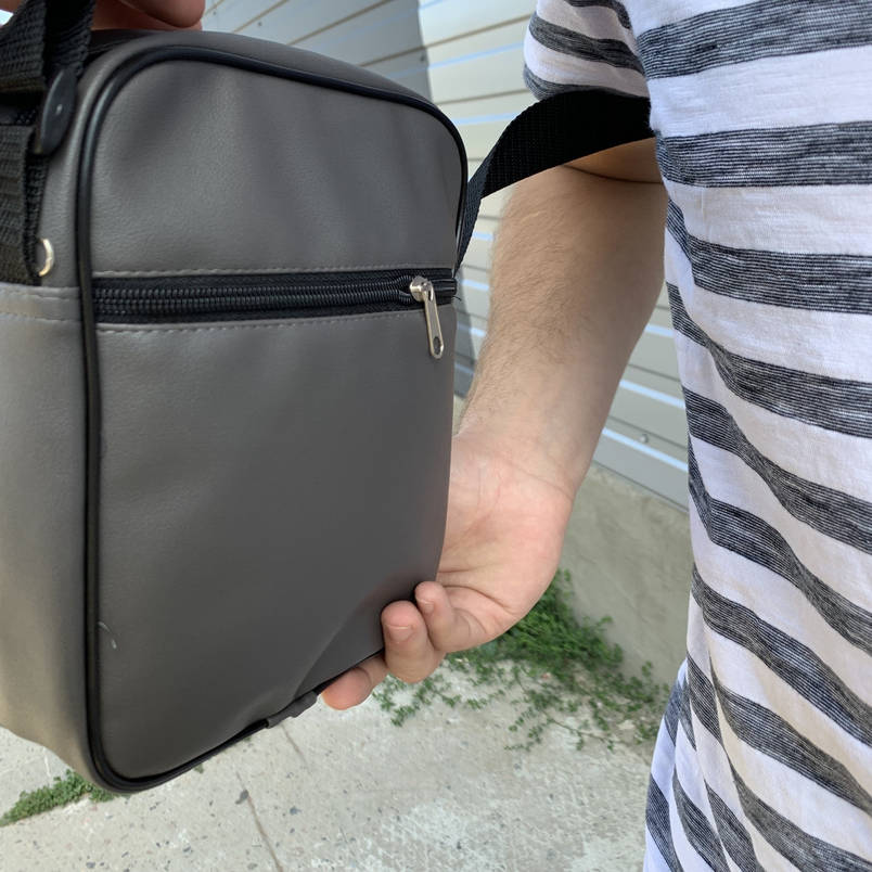 Мужская барсетка Phillip Plein серая (Филипп Пляйн) сумка через плече, фото 2