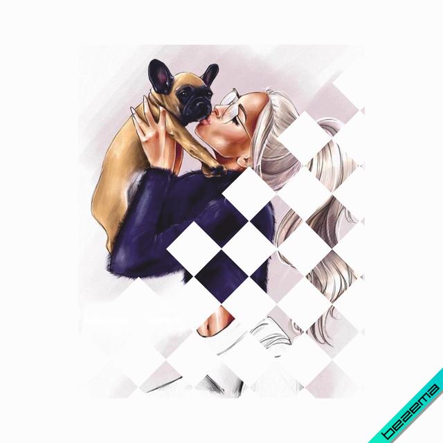 Наклейки на головные уборы Девочка с собачкой [Свой размер и материалы в ассортименте]