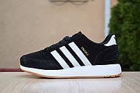Женские кеды кроссовки спортивные в стиле Adidas INIKI черные с белым