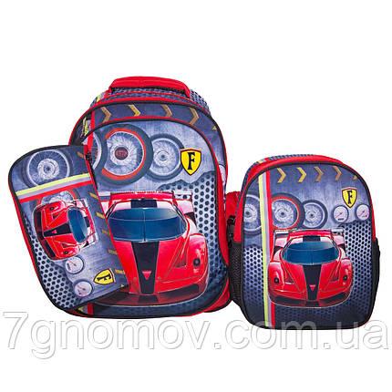Рюкзак школьный для мальчиков с пеналом и ланчбоксом красный VGR Машина, фото 2