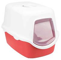 Туалет Trixie Vico Litter Tray для кішок закритий, 40х40х56 см бордово-кремовий