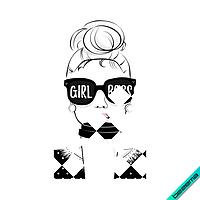 Наклейки на юбки термо Girl Boss [Свой размер и материалы в ассортименте]