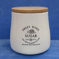"""Банка для сахара """"Глазурь"""" с бамбуковой крышкой 1.2л 14.5*11.5*14см"""