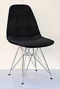 Стілець в скандинавському стилі оббивка оксамит Alex Chrom ML ,колір чорний в-4