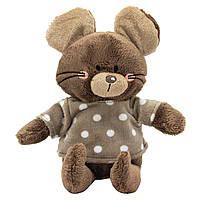 Мягкая игрушка - мышка в кофточке, 15 см, коричневый, мех искусственный (C1812315C-2)