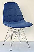 Стілець в скандинавському стилі оббивка оксамит Alex Chrom ML ,колір синій в-1