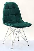 Стілець в скандинавському стилі оббивка оксамит Alex Chrom ML ,колір зелений-5