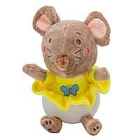 Мягкая игрушка - крыса в желтом платье, 14 см, коричневый, мех искусственный (D1826214-1)