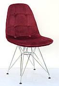 Стілець в скандинавському стилі оббивка оксамит Alex Chrom ML , колір бордо в-2