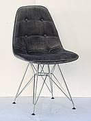 Стілець в скандинавському стилі оббивка оксамит Alex Chrom ML ,колір сірий в-3
