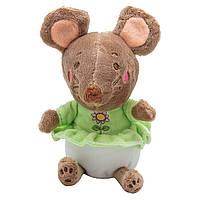 Мягкая игрушка - крыса в зеленом платье, 14 см, коричневый, мех искусственный (D1826214-2)