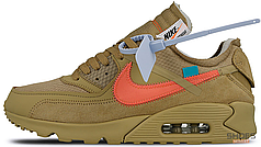 Мужские кроссовки Nike Air Max 90 OFF-WHITE Desert Ore AA7293-200, Найк Аир Макс 90