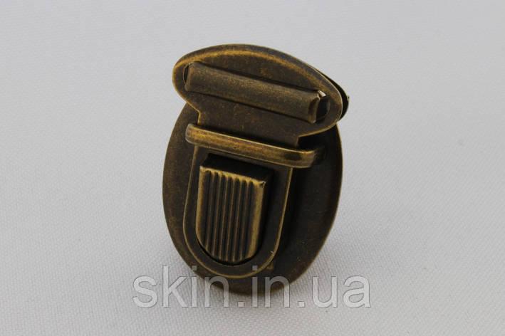 Замок для сумки, размер - 27 мм. * 37 мм., цвет - антик, артикул СК 5525, фото 2