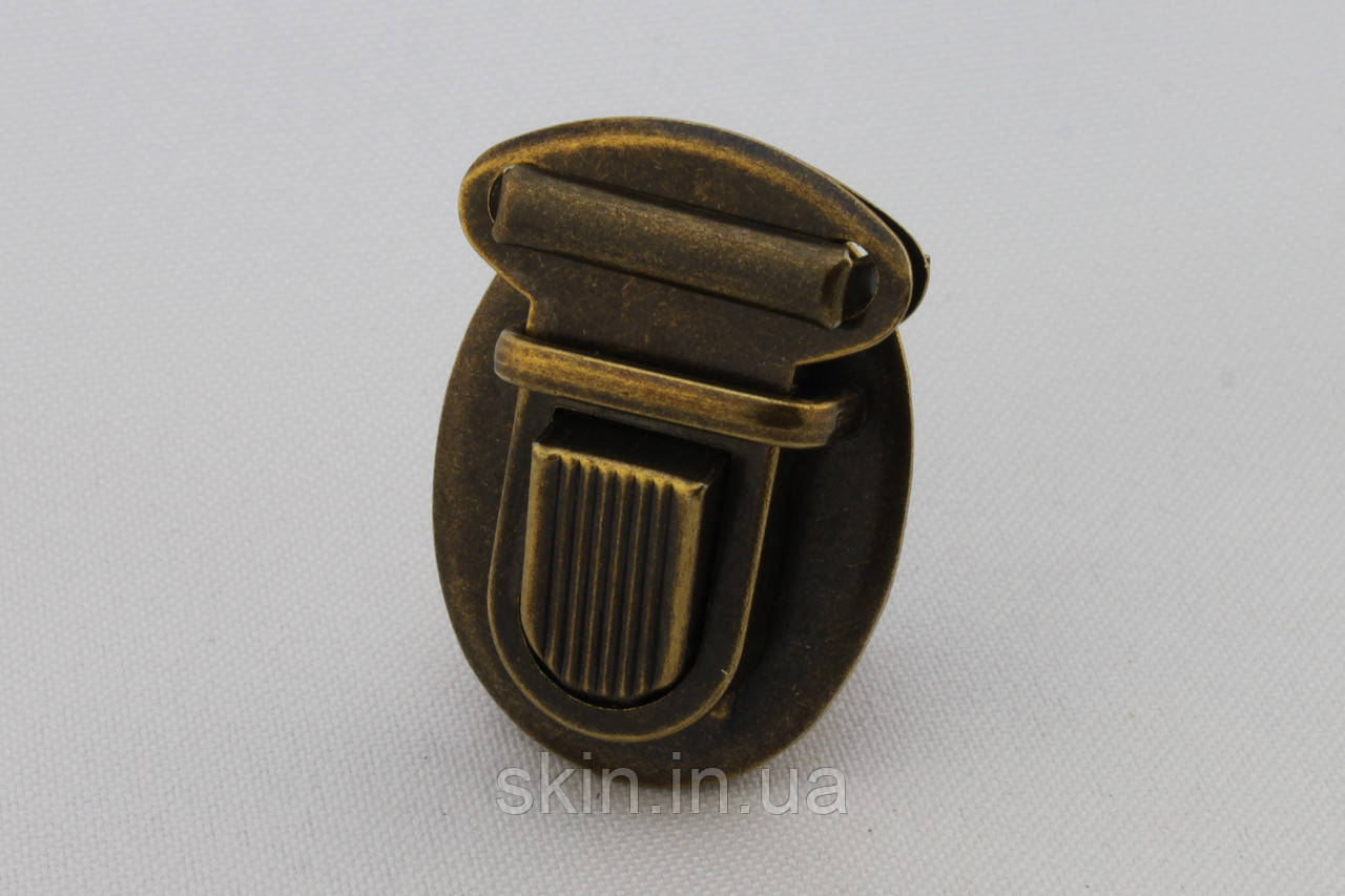 Замок для сумки, размер - 27 мм. * 37 мм., цвет - антик, артикул СК 5525