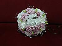 Свадебный букет-дублер из роз пудровый с молочным (айвори)