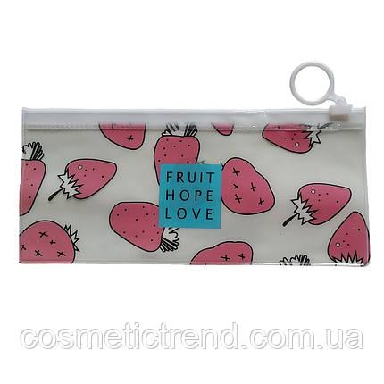 Косметичка женская силиконовая прозрачная c рисунком Fruit Hopr Love 18.7*7.9 см (размер S), фото 2
