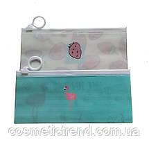 Косметичка женская силиконовая прозрачная c рисунком Fruit Hopr Love 18.7*7.9 см (размер S), фото 3