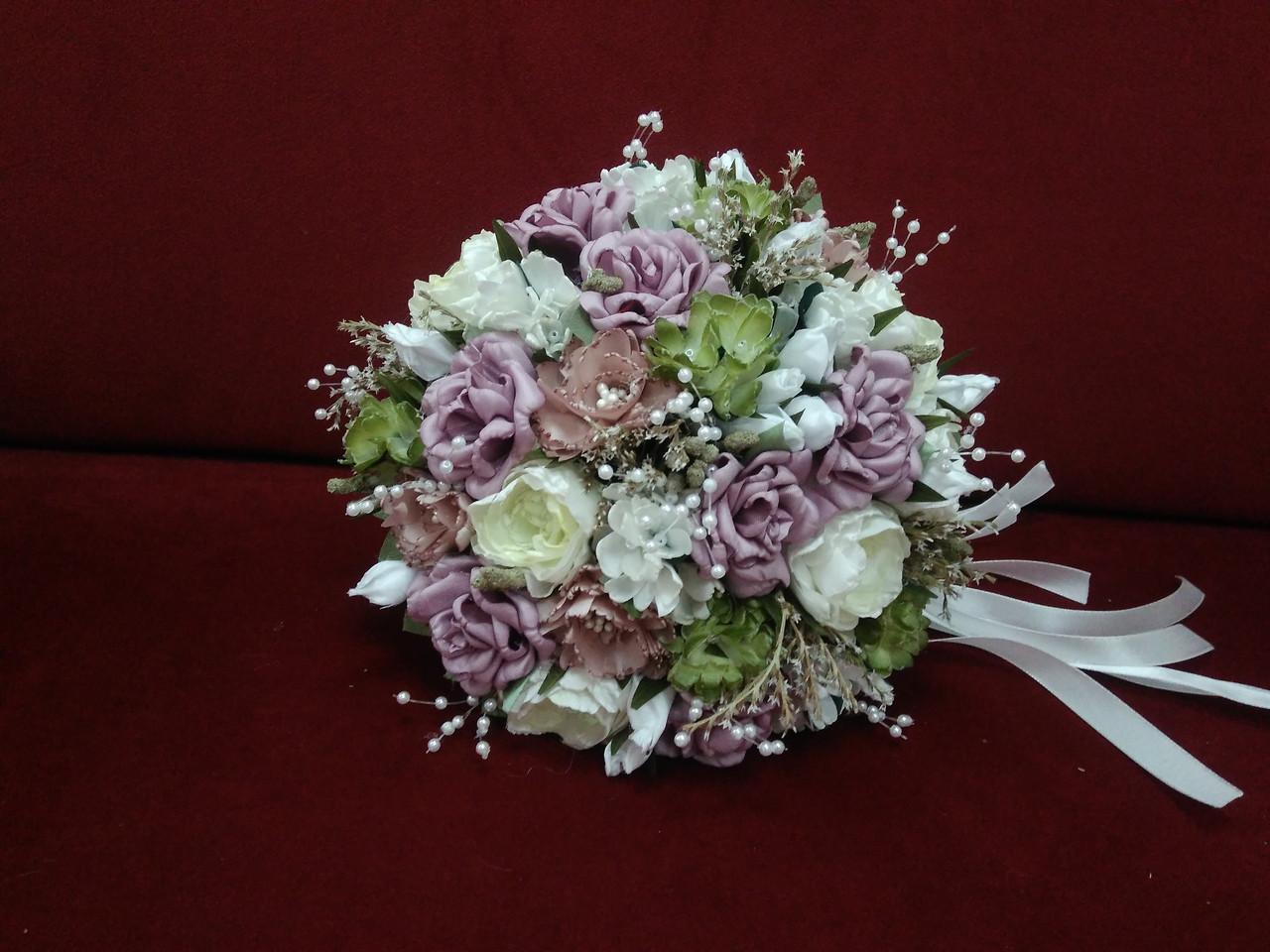 Весільний букет-дублер ліловий з молочним і пудровим