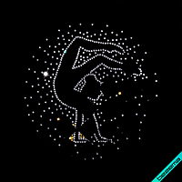 Термоперевод на гипюр Гимнастка с мячом (Стекло, 2мм-кристалл, 2.8мм-золото)