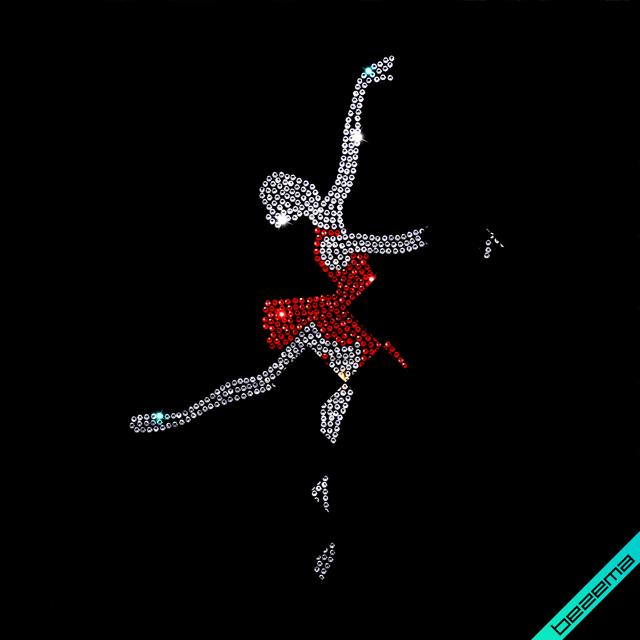Переводки на головные уборы Девушка в танце (Стекло, 2мм-кристалл, 2мм-красный)