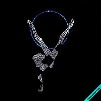 Стразы на ботильоны Девочка с кругом (Стекло, 2мм-кристалл, 2мм-сапфир)