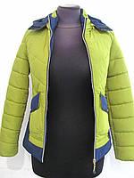 Стильная демисезонная куртка с капюшоном цвет яблоко, из плотной плащевочной ткани р.42, код 3052М